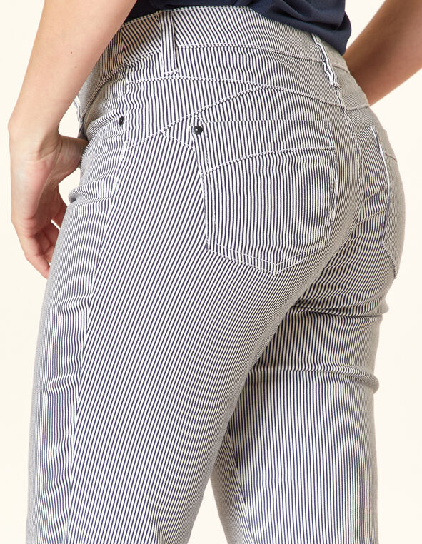 Black Stripe Butt Lift Slim Jean, White/Black, hi-res
