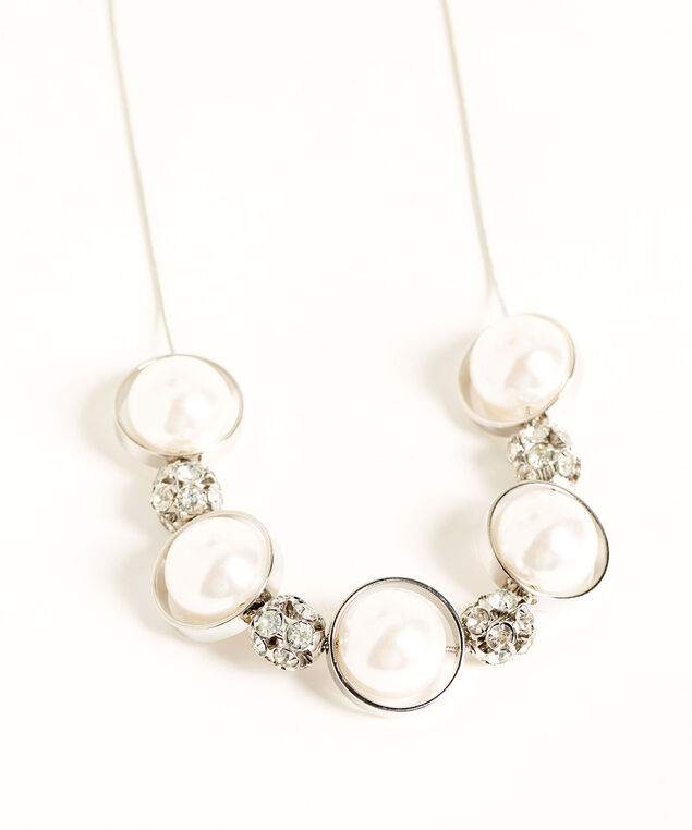 Pearl & Crystal Statement Necklace, Silver/Pearl, hi-res