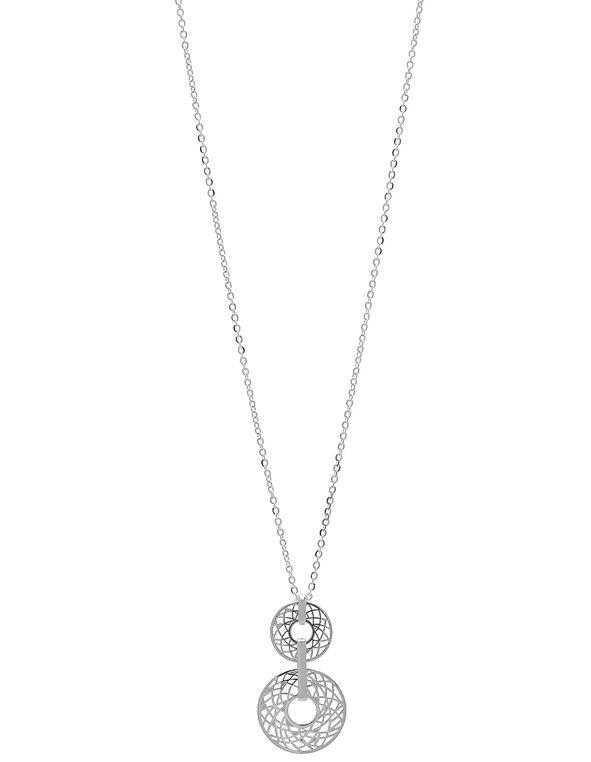 Silver Filigree Long Necklace, Silver, hi-res