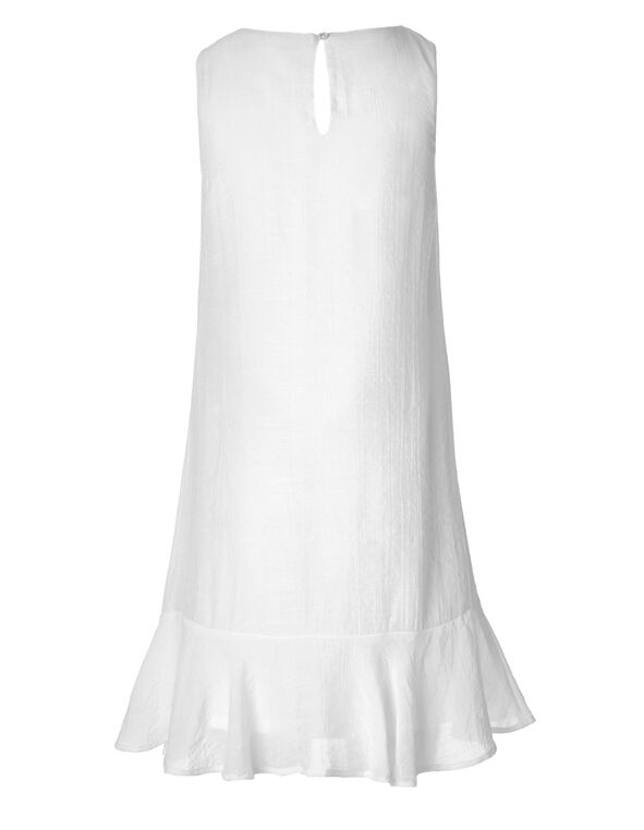White Embroidered  Gauze Dress, White, hi-res