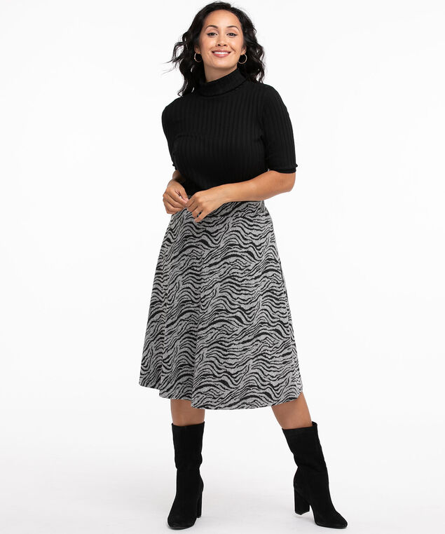 Zebra Hacchi A-Line Midi Skirt, Black/Grey Zebra Print