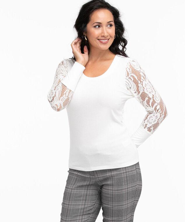 V-Neck Lace Sleeve Top, Ivory
