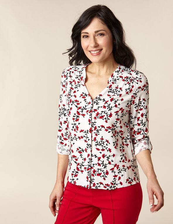 White Floral Button Front Blouse, White/Red, hi-res