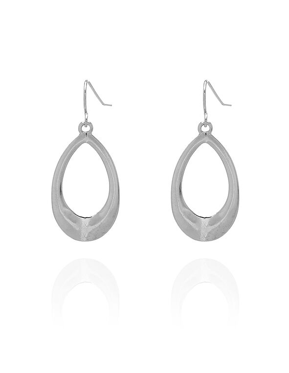 Silver Pear Earring, Silver, hi-res
