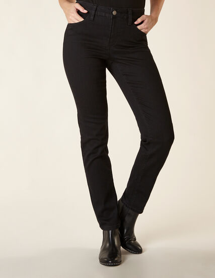Black Short Slim Leg Jean, Black, hi-res