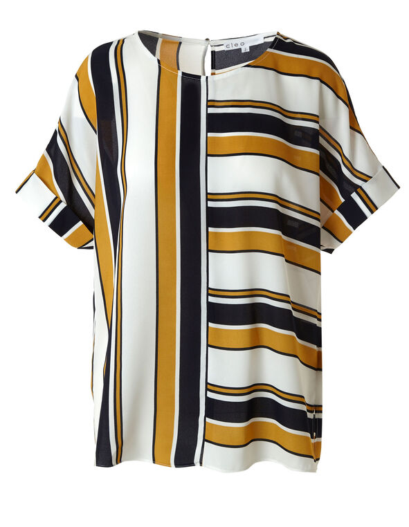 Striped Rolled Sleeve Blouse, Mustard, hi-res