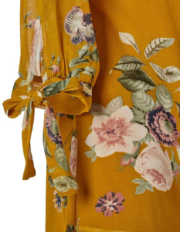 Ochre Printed Tie Detail Top, Mustard, hi-res