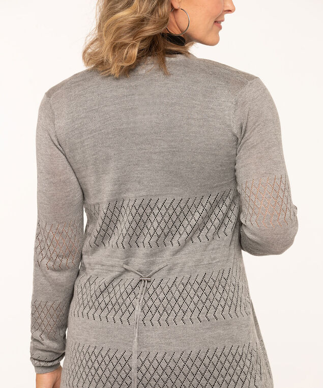 Pointelle Drawstring Long Cardigan, Grey, hi-res