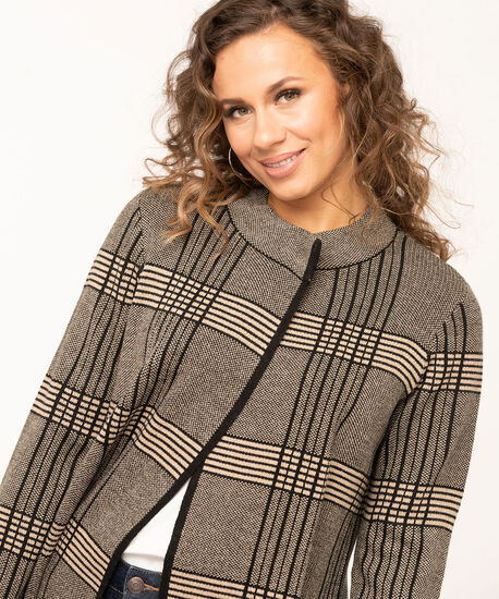 Long Sleeve Black Sweater Jacket, Black, hi-res