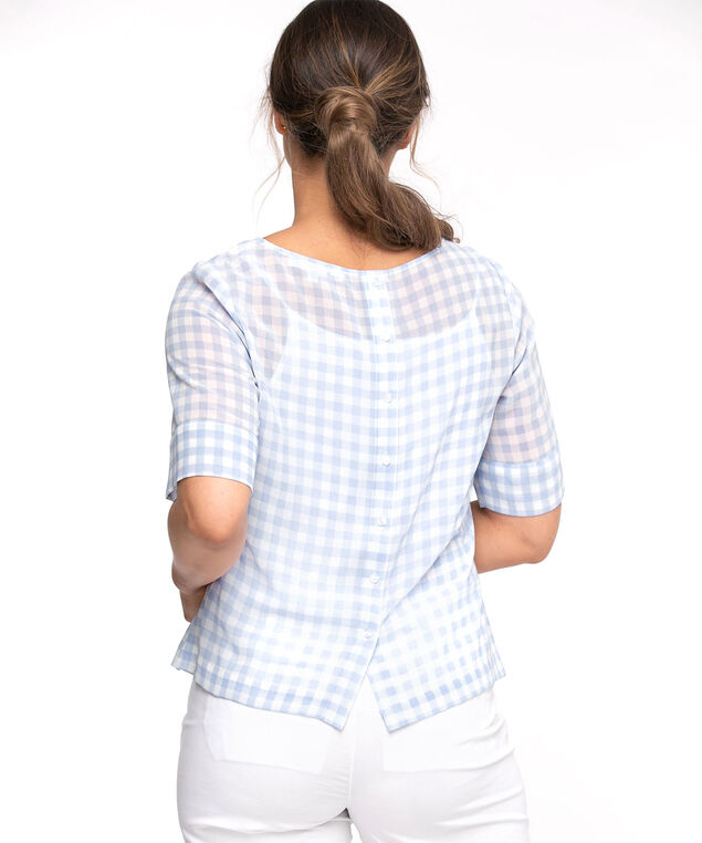 Knot Front Button Back Blouse, Blue Gingham