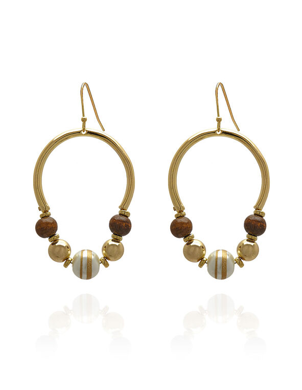 Gold Wood Beaded Earring, Gold, hi-res