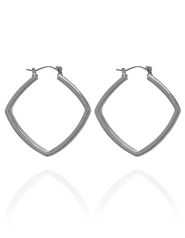 Square Silver Hoop Earring, Silver, hi-res