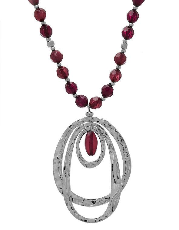 Merlot Pendant Long Necklace, Purple, hi-res