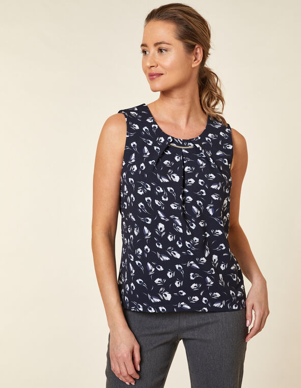 Navy Floral Crepe Top, Navy, hi-res