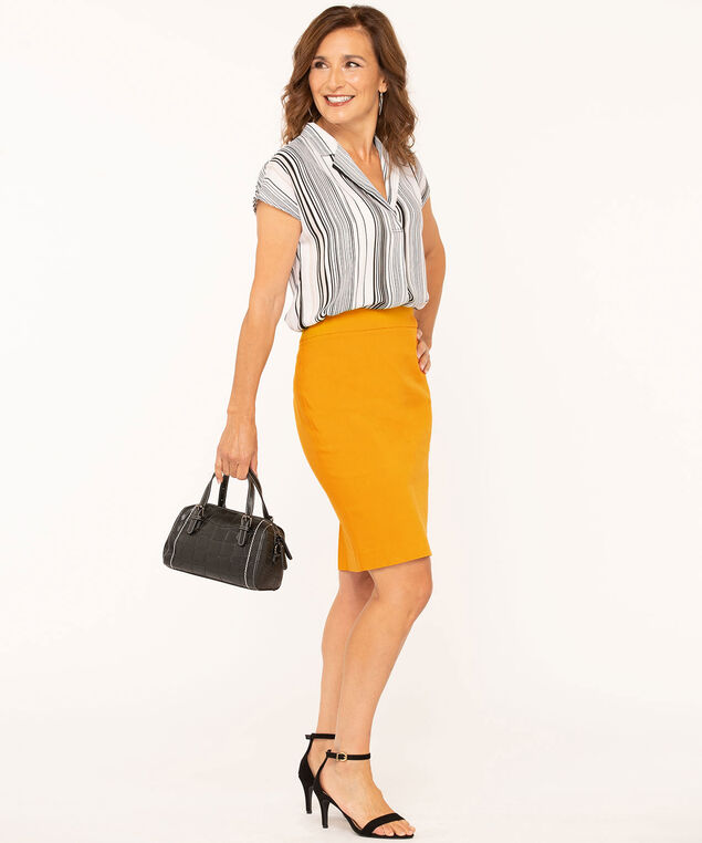 Gold Pull On Pencil Skirt, Gold, hi-res