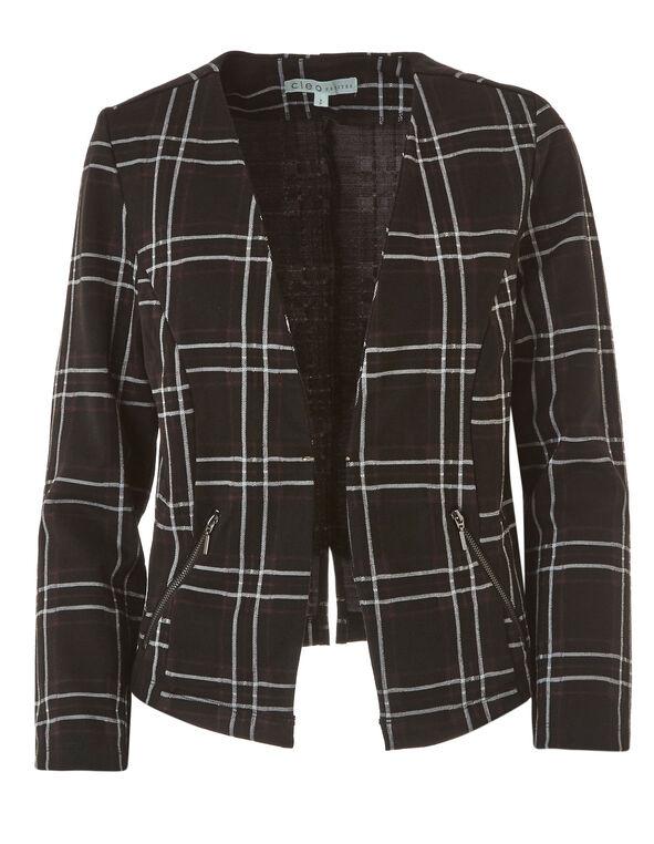 Black Plaid Open Knit Blazer, Black, hi-res