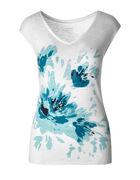 Turquoise Floral Cap Sleeve Slub Tee, White/Turquoise, hi-res