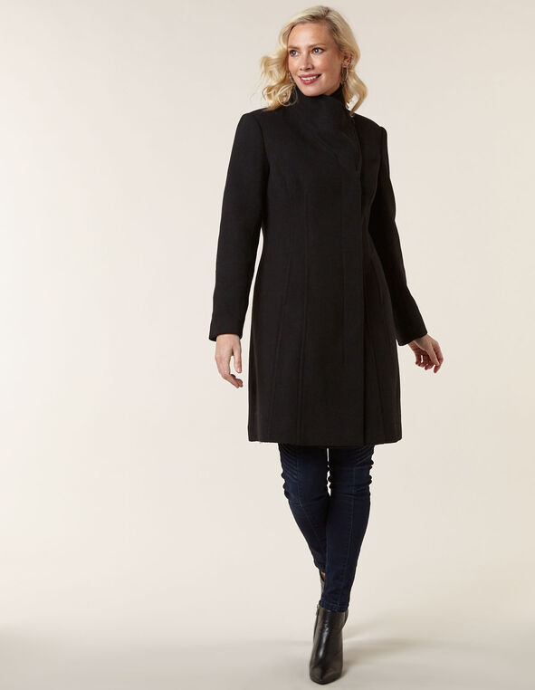 Black Classic Wool Blend Coat, Black, hi-res