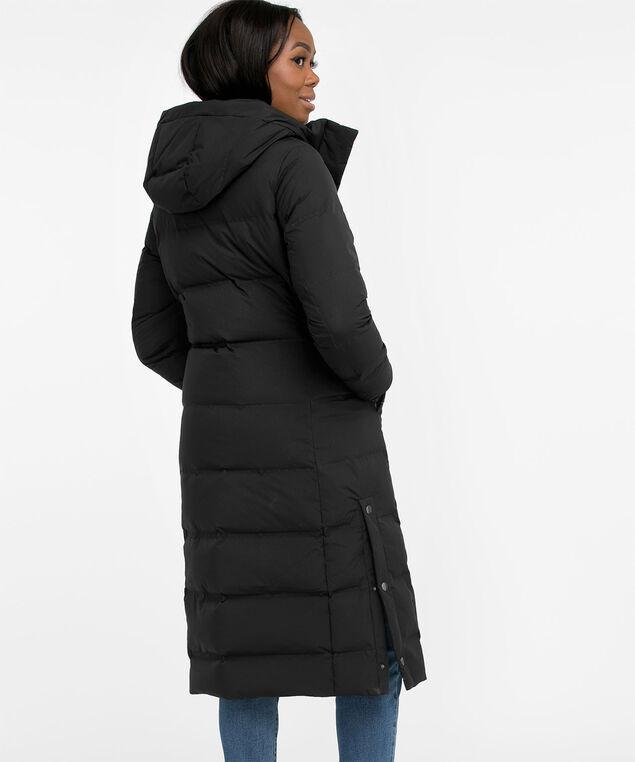 Black Duvet Down Maxi Coat, Black