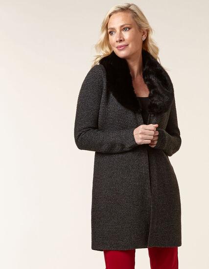 Charcoal Faux Fur Sweater Coat, Charcoal, hi-res