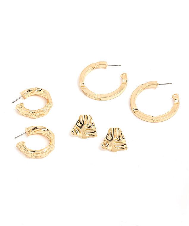 Textured Stud & Hoop 3-Pack, Gold