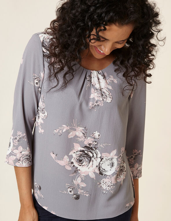 Grey Floral Bubble Crepe Blouse, Grey/Pink, hi-res