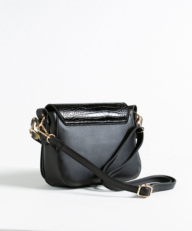 Black Croco Mix Handbag, Black, hi-res