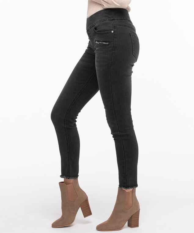 Slim Leg Raw Hem Zipper Jean, Grey