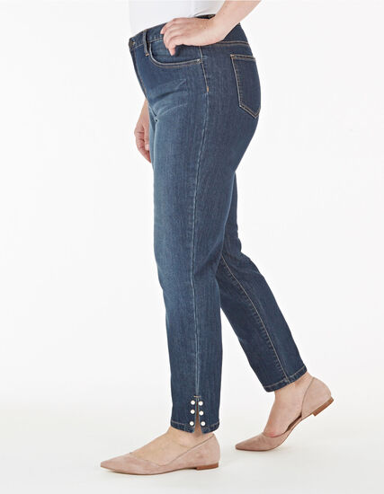Pearl Detail Ankle Jeans, Denim, hi-res