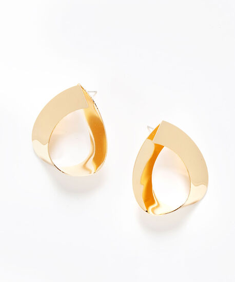 Gold Flat Twisted Teardrop Earring, Gold, hi-res