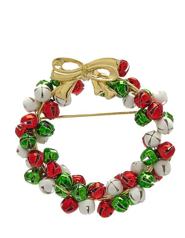 Seasonal Bell Wreath Pin, Multi, hi-res