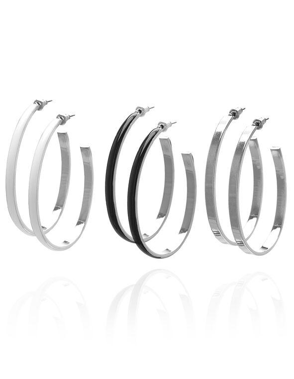 Hoop Earring Trio Set, White, hi-res