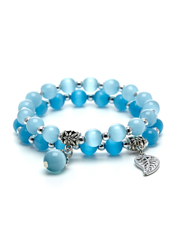 Blue Cat Eye Beaded Bracelet, Blue, hi-res