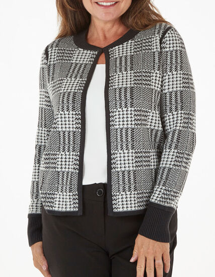 Black Check Sweater Coat, Black, hi-res