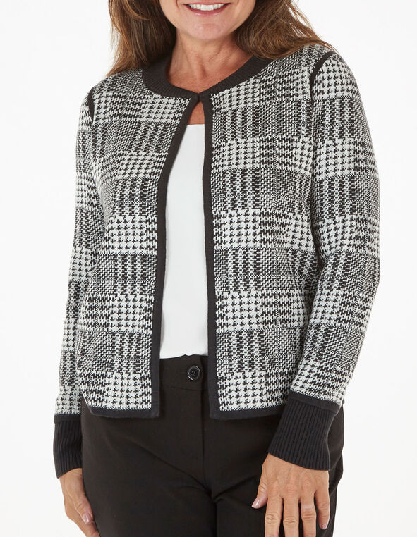 Black Check Sweater Coat, Black, hi-res