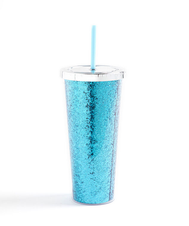 Glitter Tumbler With Straw, Blue