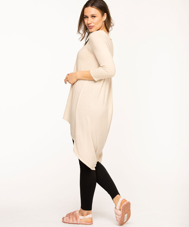 Pleat Back High-Low Tunic, Tan