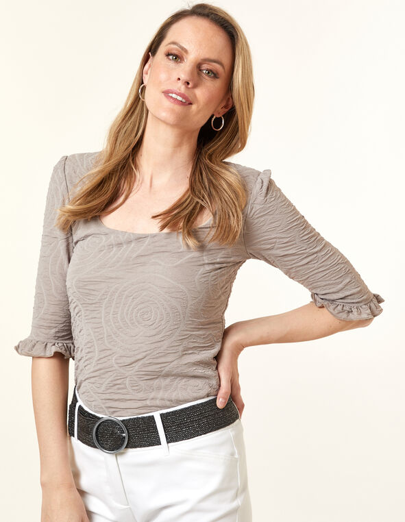 Textured Ruffle Top, Taupe, hi-res