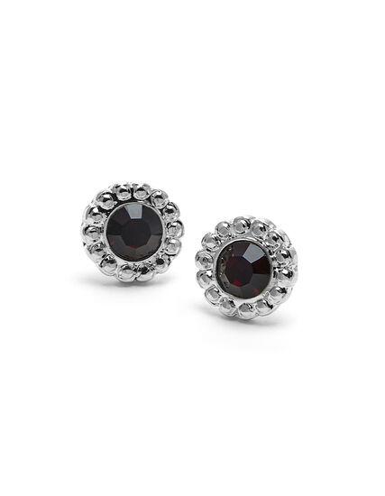 Genuine Crystal Garnet Earring, Red/Silver, hi-res