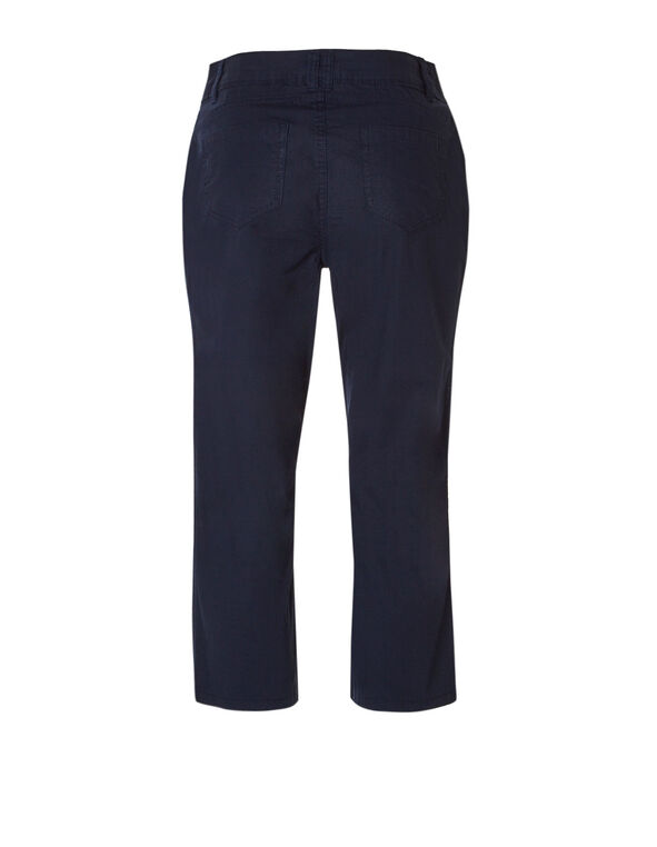 Navy Cotton Poplin Capri, Navy, hi-res