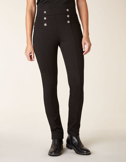 Black Button Detail Legging, Black, hi-res