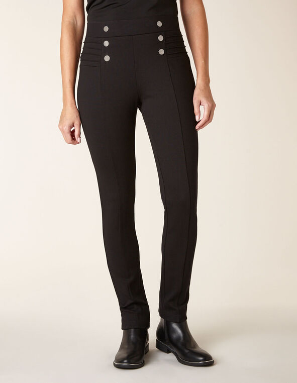 Black Button Detail Legging, Black, hi-res