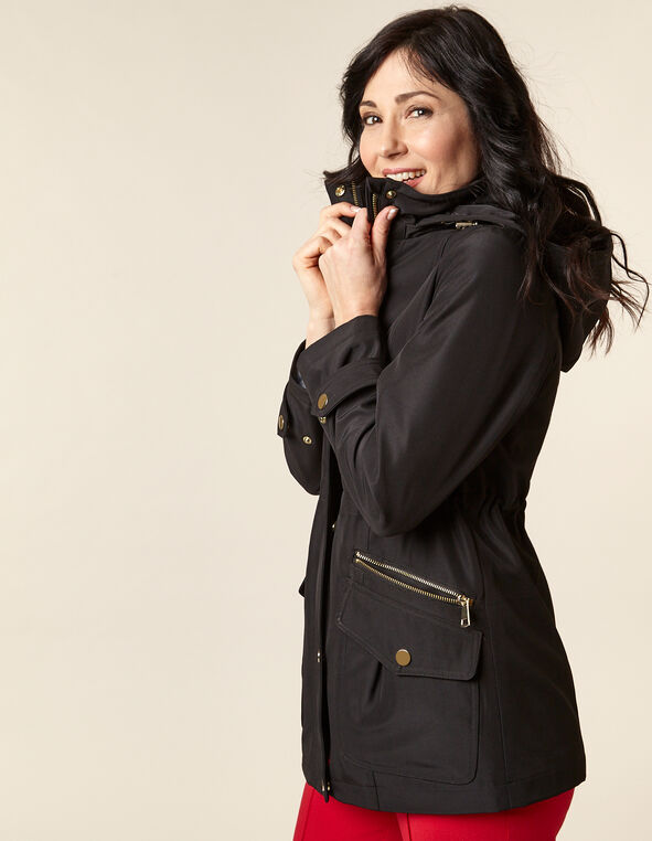 Black Anorak Coat, Black, hi-res