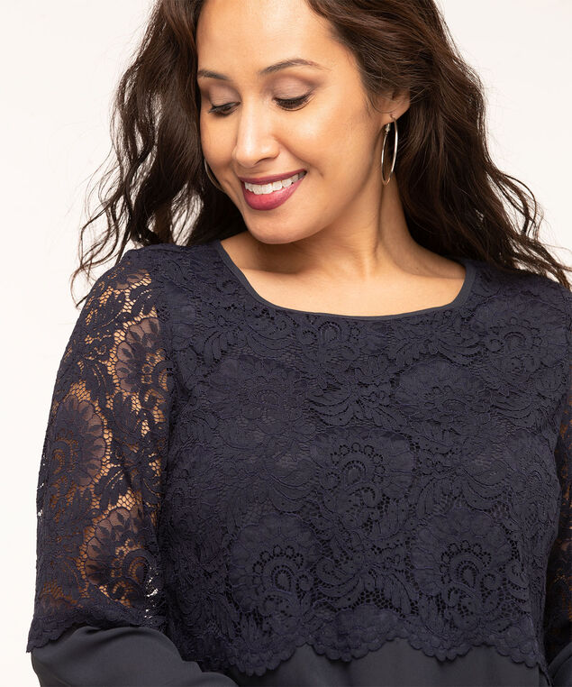 Lace Overlay Popover Blouse, Navy, hi-res