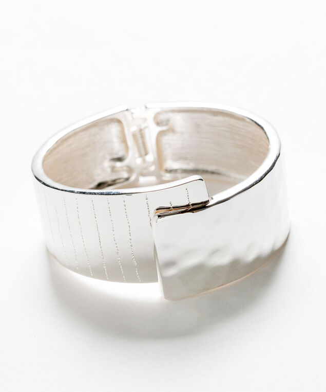 Silver Hinge Cuff Bracelet, Silver, hi-res