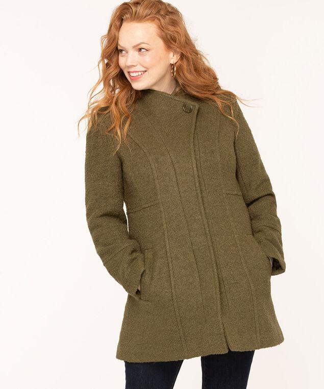 Bouclé Standing Collar Coat, Olive