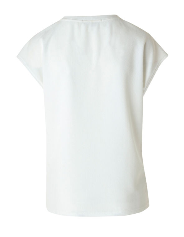 Ivory Knit Crepe Top, Ivory, hi-res