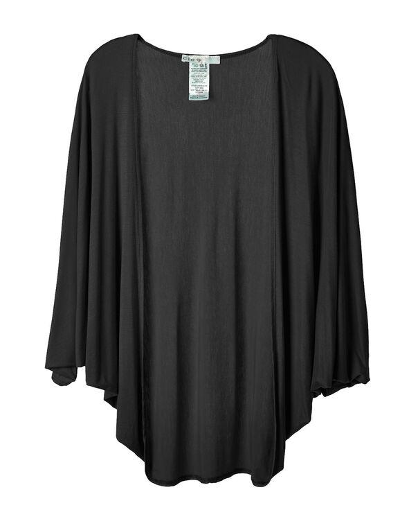 Black Bubble Sleeve Cardigan Top, Black, hi-res