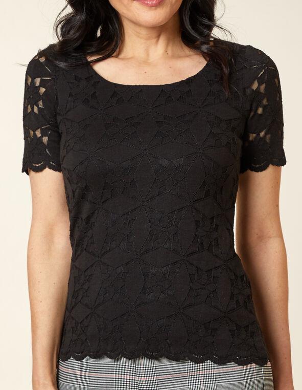 Black Lace Overlay Top, Black, hi-res