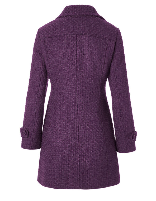 Purple Basket Weave Coat, Raspberry, hi-res